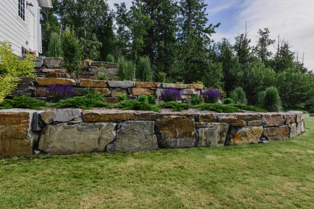 Large Rock Retaining Wall Edmonton and Sherwood Park