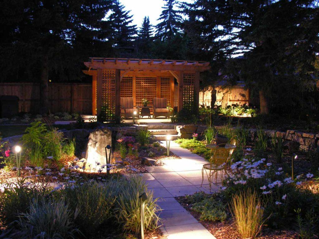 Outdoor Lighting, Stone Walkway and Gazebo