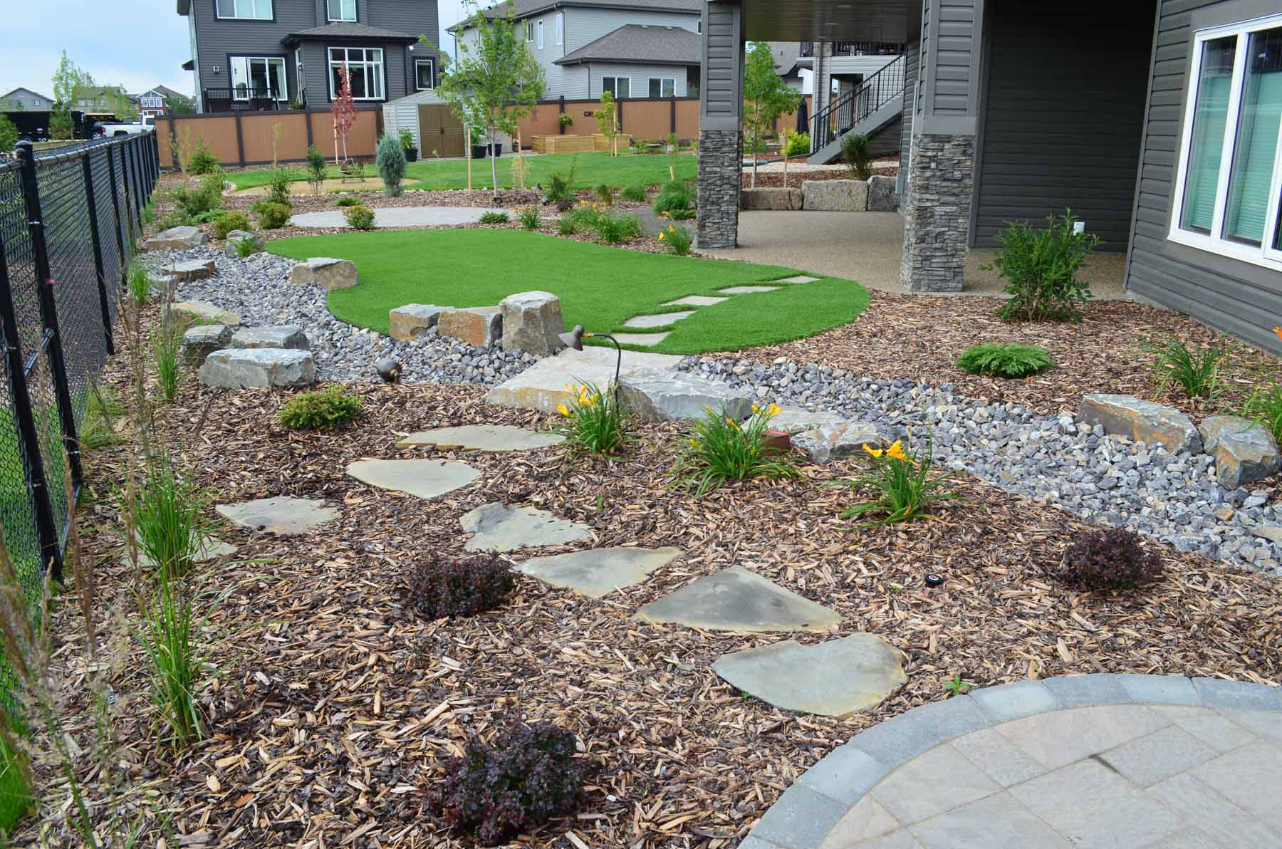 Xeriscaped backyard with pathway
