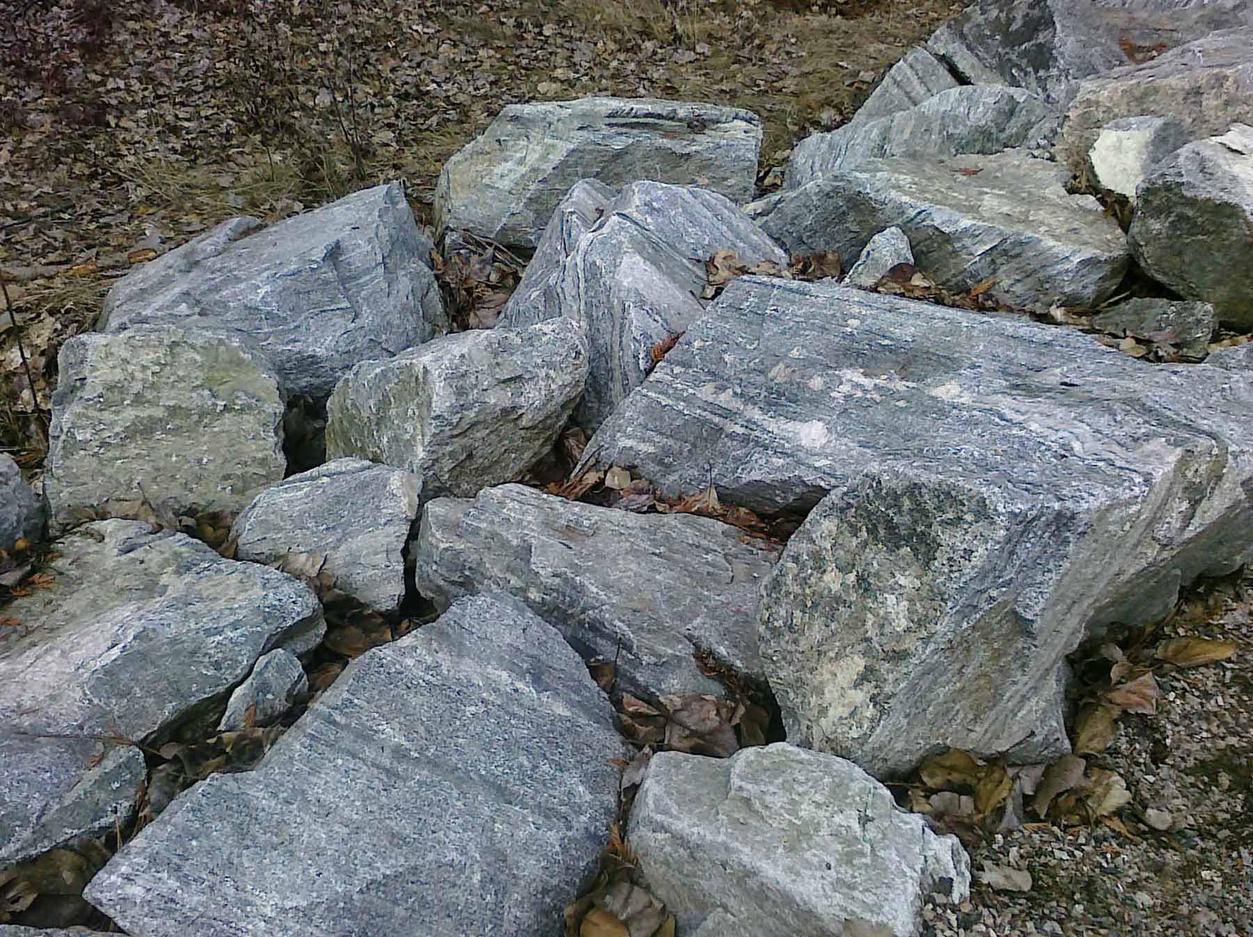 A group of grey boulders and stones