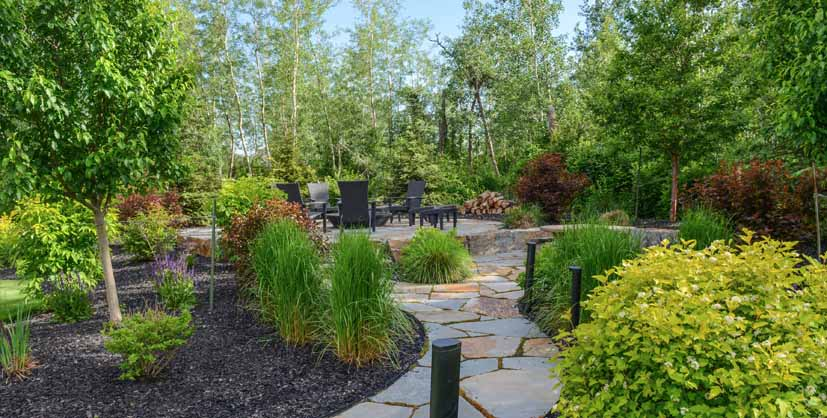 Private Stone Patio Custom Landscaping Edmonton