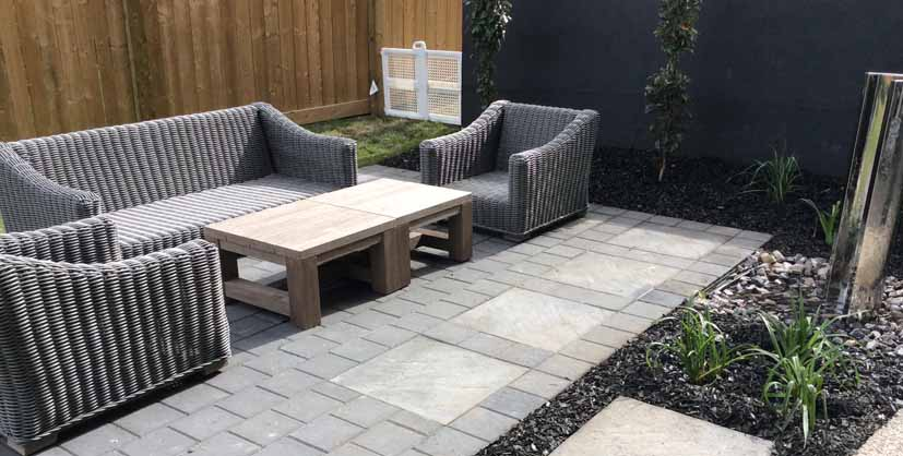 Square Stone Patio with Seating