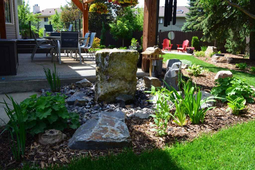 Boulders and Garden Custom Landscape Design Sherwood Park