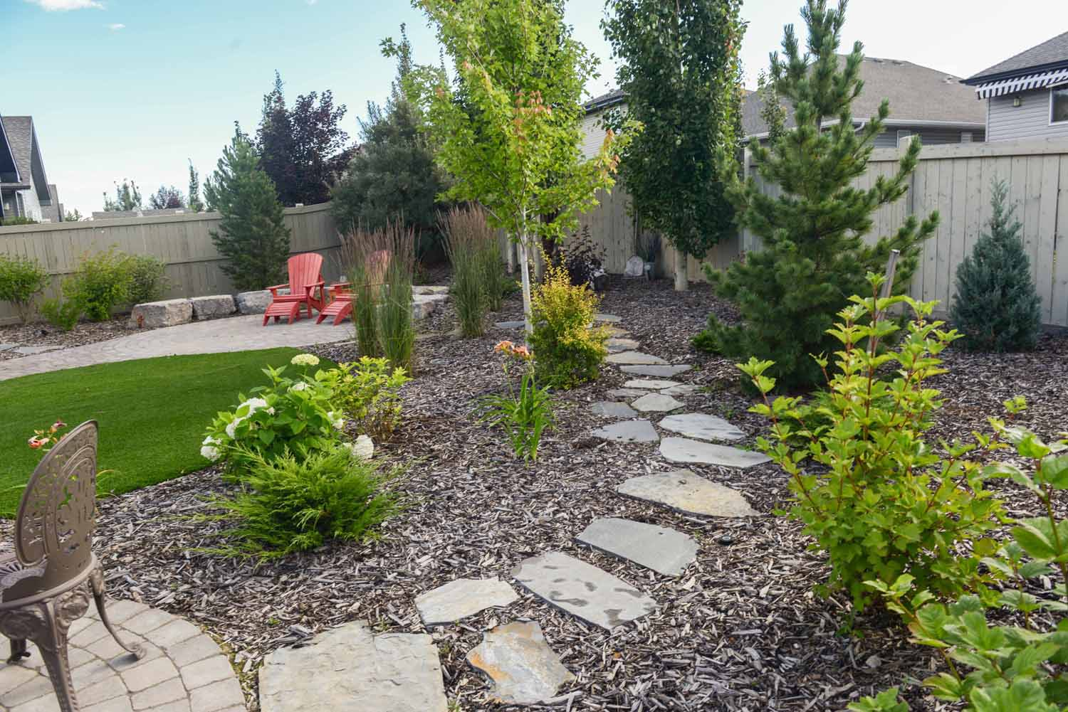 Xeriscaped backyard with path way and plants