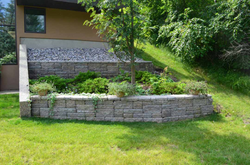 Retaining Wall with Greenery - Landscaping in Edmonton