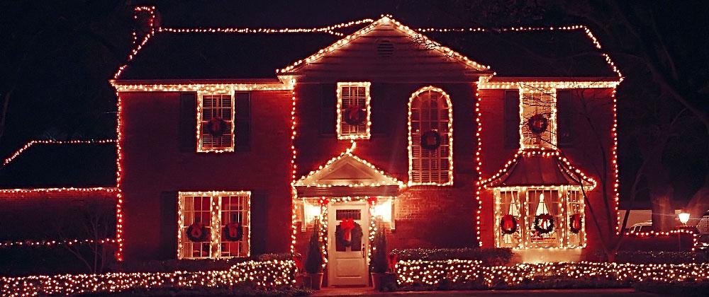 christmas lights on home Salisbury Landscape