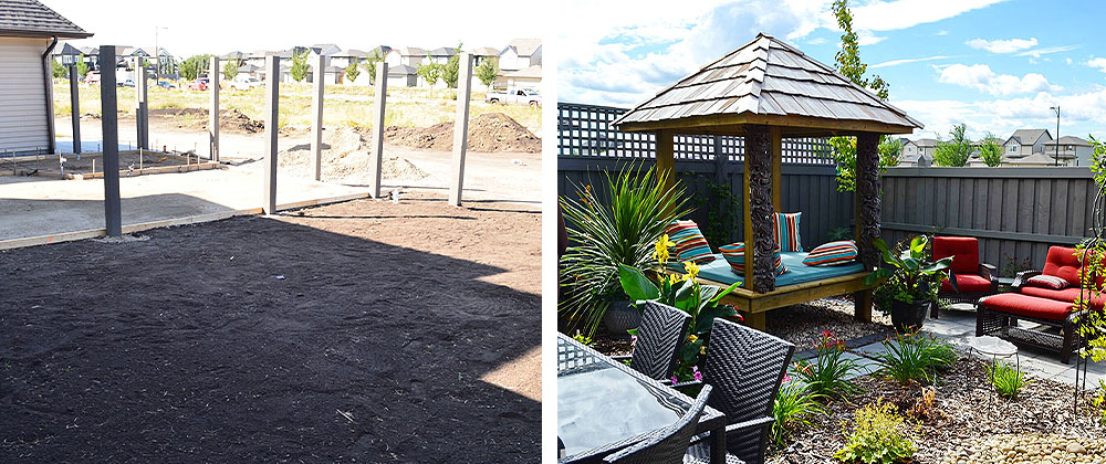 before and after shot of landscape project by Salisbury Landscaping