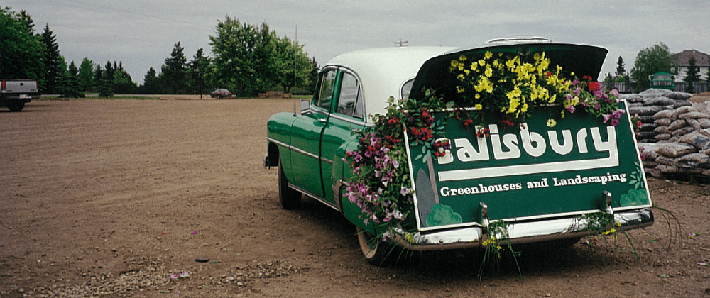Historic photo of Salisbury Landscaping and Greenhouses car with sign in trunk