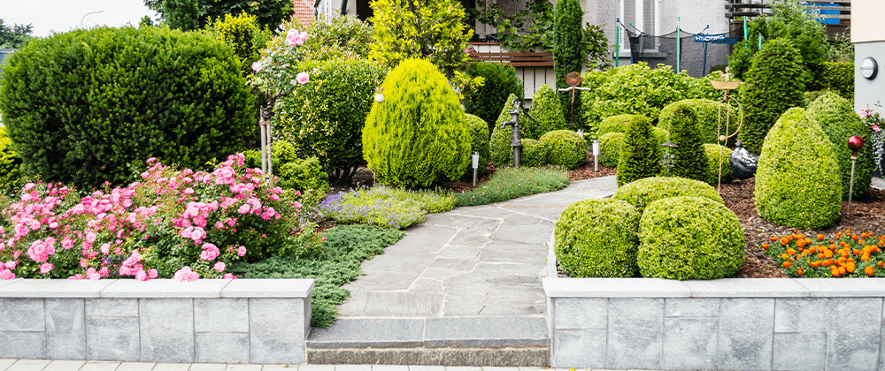landscaped front lawn with shrubs and retaining walls Salisbury Landscape