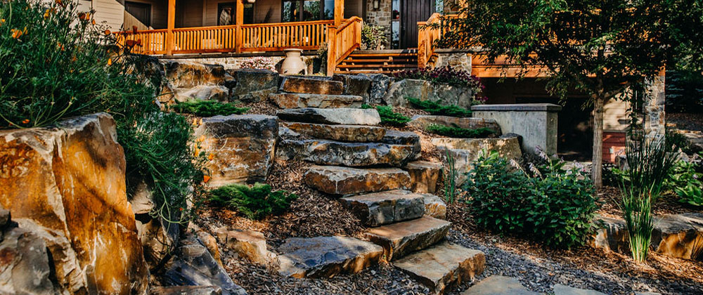 use of landscaping rocks in front yard