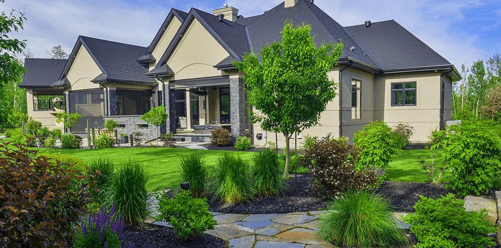manicured landscape front of home Salisbury Landscape