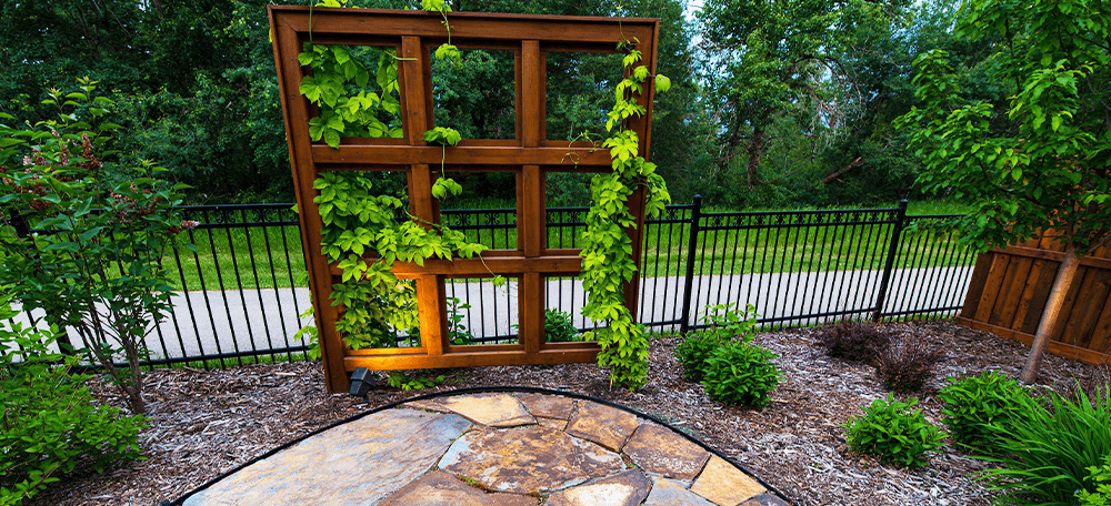 rustic landscape design recycled window frame